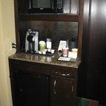 The mini fridge/microwave/coffee maker