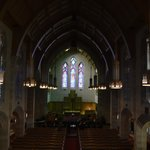 Inside of chapel, beautiful stained glass