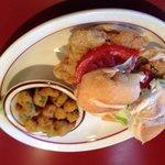 Chicken fried steak sandwich and fried okra
