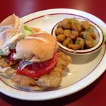 Chicken fried steak sandwich and fried okra