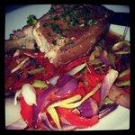 *Belly pork on a bed of veg... *pork chop!