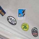 Bus interior:  stickers!
