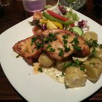 Swordfish with garlic potatoes and salad