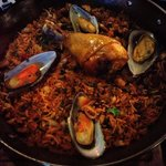 chicken and seafood paella to share