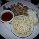 Pulled Pork with mashed potatoes & Mac & Cheese