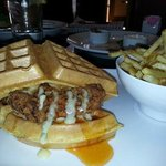 Chicken & Waffle Sandwich with Garlic Shoestring Fries