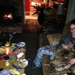 Having dinner with the doggies by the fire :-)