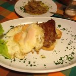 Fillet steak with 3 eggs and porcini mushrooms