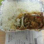 Two spoons of lamb curry to accompany a massive amount of rice--HOW CHEAP!!