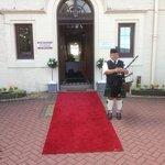 Piper at the main entrance
