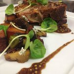 veal porterhouse roasted brussels and fingerlings pickled mustard jus