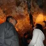 checking out the fissure in the cave ceiling