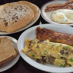 Philly omelet with hash, A 2-2 with chocolate chip & pecan pancakes