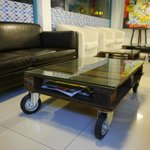 Coffee table made by recycled materials