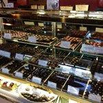 chocolate truffle display, so many choices.