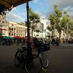 Rembrandtplein, literally the back yard of the hotel, is filled with cafes and bars.