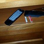 The broken TV remote. Nice room 218