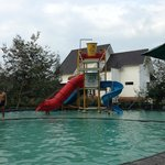The water slides, small but kids still love it
