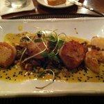 Seared sea scallops w/ corn hash
