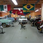 View inside Andy Malletts Antique Car Museum