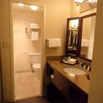 Carpeted sink area.