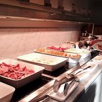 Hot food selection for morning buffet