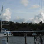 View of the Dinghy Dock Bar from our sailboat in Oyster Pond Marina