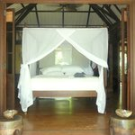 Our bed in the monkey bungalow.