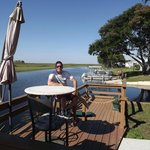 Relaxing before the airboat ride