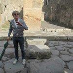 Giuseppe explaining the ruins in Pompeii