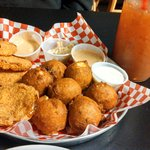 out of this world fried green tomatoes & hush puppies