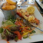 Lobster Thermidor, salad and chips