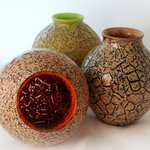 Raku Blown Glass Trio