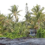 View from the lava beach of the house