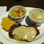 Chicken fried chicken with Mac n cheese and mashed potatoes and gravy. Delicious! The sides were