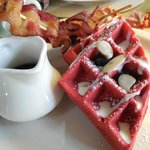 Red Velvet Waffle with Blueberries, Almonds and Bacon