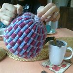 I love the way you could get a pot of tea to yourselves- complete with handmade knitted cosy!