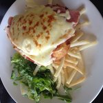 Free range chicken Parma with chips & salad