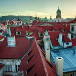 Prague Old Town roofs and Petrin lookout tower