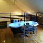 Roll top bath on mezzanine