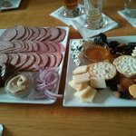the sausage platter and the wisconsin cheese sampler