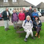 Our walking group in front of the pub