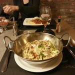 linguini pasta with chicory and salmon (15 euros)