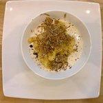 Polentina di Storo su crema di formaggi dolci e tartufo nero.....
