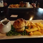 Steak and ale pie with peas and gravy (we opted for chips rather than mash)