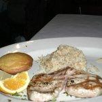 My pork chops, rice and corn bread