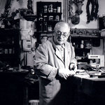 A nice picture of woodcarver Bruno Barbon, in his Studio in Venice - Italy