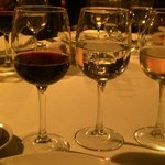 Red wine, water and white wine (all served at once)
