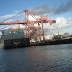 huge cranes unloading container ships