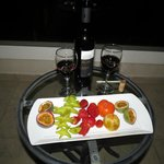 Wine and fruit platter